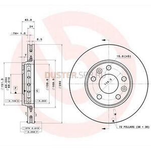Диск тормозной передний (280 мм), комплект #1